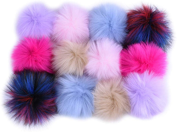 JINSEY 12pcs Faux Fox Fur Fluffy Pompom Ball For Hat Shoes Scarves Bag Charms
