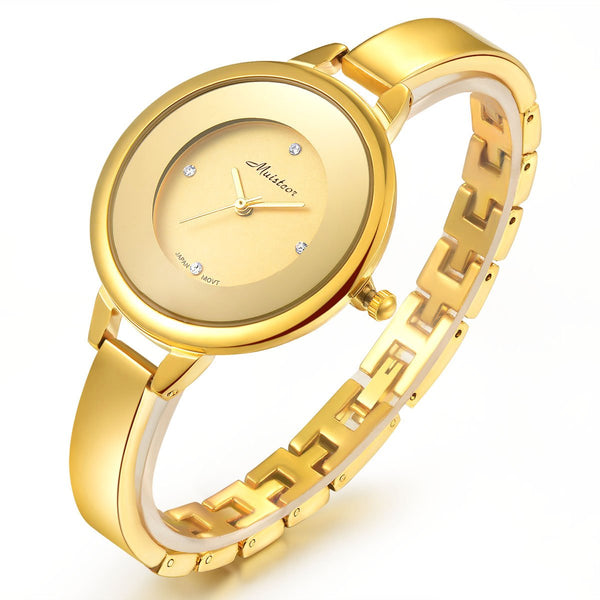 Stainless Steel Wrist Watch for Women Luxury Gold-Tone Watch Analog Quartz Ladies Watches