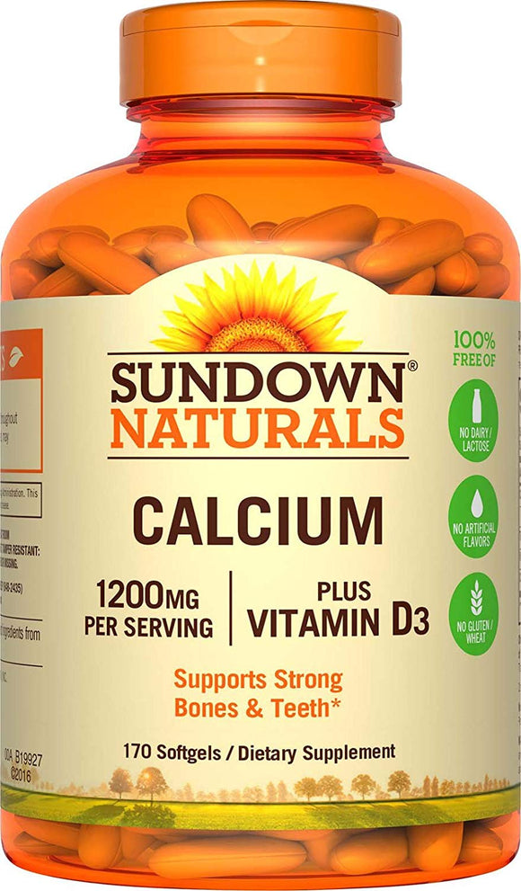 Sundown Naturals Calcium 1200 Plus Vitamin D3 1000 IU, Liquid Filled Softgels