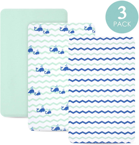 TILLYOU Jersey Knit Mini Portable Crib Sheets, Pack and Play Sheet Set for Boys Girls