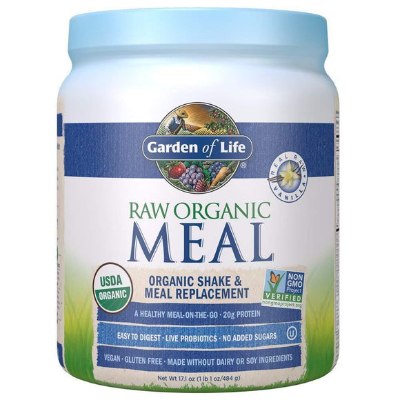 Garden of Life Meal Replacement - Organic Raw Plant Based Protein Powder, Vanilla, Vegan, Gluten-Free, 17.1 oz (484g) Powder