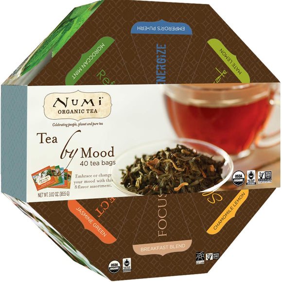 Tea Gift Box, 40 bags, Assortment of Premium Organic Black, Pu-erh, Green, Mate, Rooibos, Herbal Tea Variety Pack