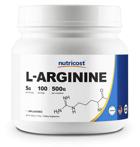 Nutricost L-Arginine Powder 500 Grams (1.1lbs) - Pure L-Arginine Powder - 5000mg Per Serving; 100 Servings