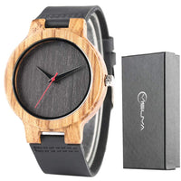 Creative Wood Watch Mens Analog Minimalist Genuine Leather Band Strap Bamboo Nature Wood Wrist Watch