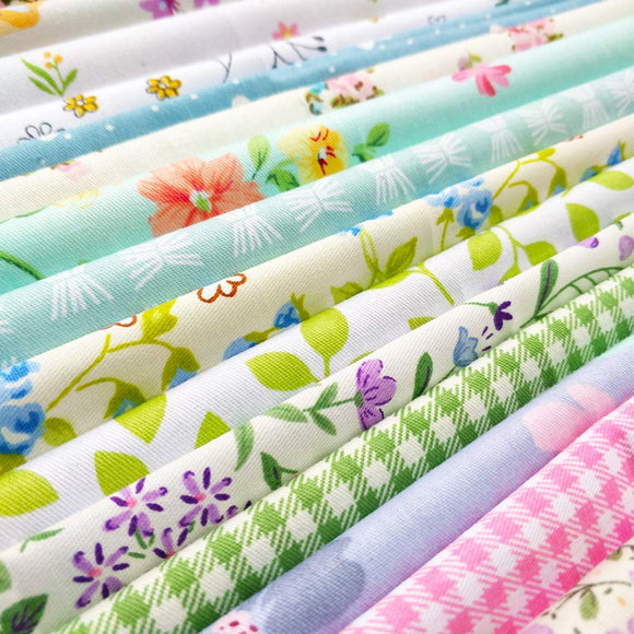 flic-flac 25pcs 12 x 12 inches (30cmx30cm) Cotton Fabric Squares Quilting Sewing Floral Precut Fabric Square Sheets