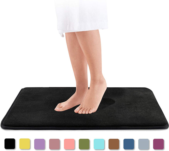 Genteele Memory Foam Bath Mat Non Slip Absorbent Super Cozy Velvet Bathroom Rug Carpet