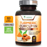 Turmeric Curcumin Max Potency 95% Curcuminoids 1950mg with Bioperine Black Pepper for Best Absorption, Anti-Inflammatory Joint Relief