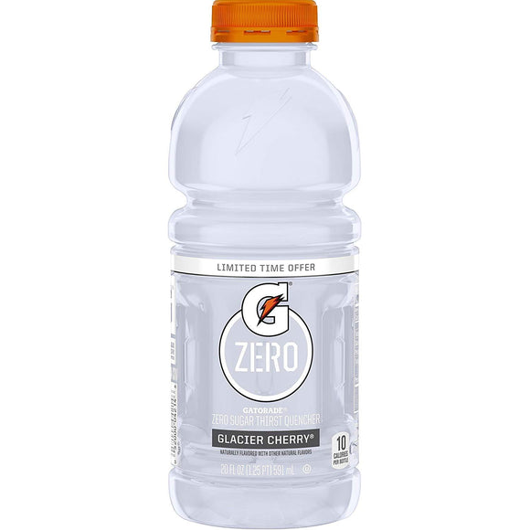 Gatorade Zero Sugar Thirst Quencher, Glacier Cherry, 20 Ounce Bottles (Pack of 12)