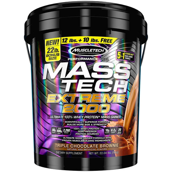 MuscleTech Mass Tech Extreme Weight Gainer Protein Powder, Triple Chocolate Brownie, 22lbs (10kg)