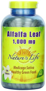 Nature's Life Alfalfa Leaf Tablets, 1000 Mg, 500 Count