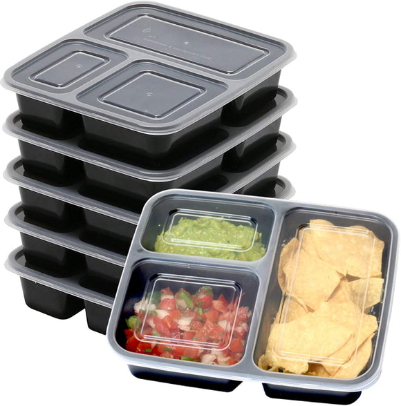 6 Pack - SimpleHouseware 3 Compartment Reusable Food Grade Meal Prep Storage Container Boxes