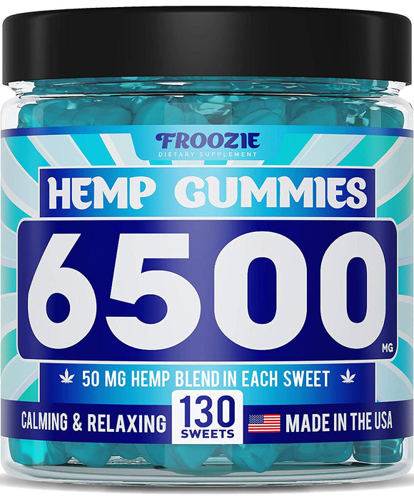Hemp Gummies 6500 MG - 50 MG Hemp per Gummy, 130 Sweets - Made in USA - Natural Anxiety & Stress Relief