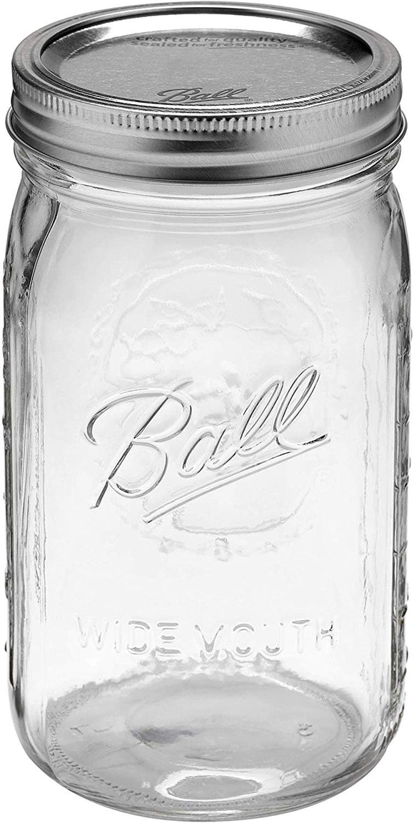 Ball Mason 32 oz Wide Mouth Jars with Lids and Bands