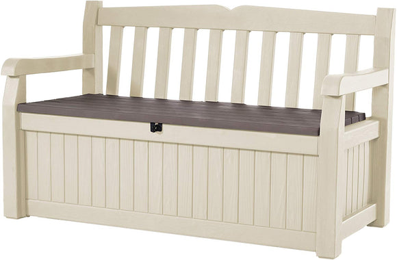 Keter Eden 70 Gallon Storage Bench Deck Box for Patio Decor and Outdoor Seating