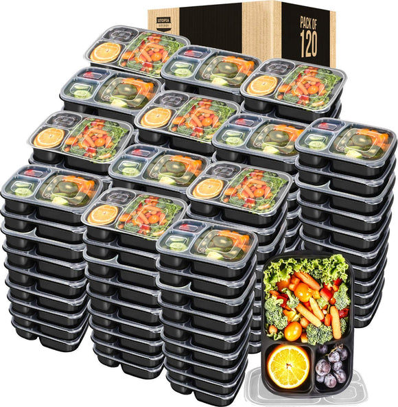 Utopia Kitchen 32 Oz. 3 Compartment Meal Prep Container