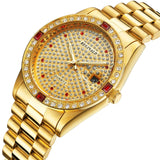 Luxury Unisex Watches Diamond Gold Watches Quartz Calendar Luminous Bezel Luxury Watch
