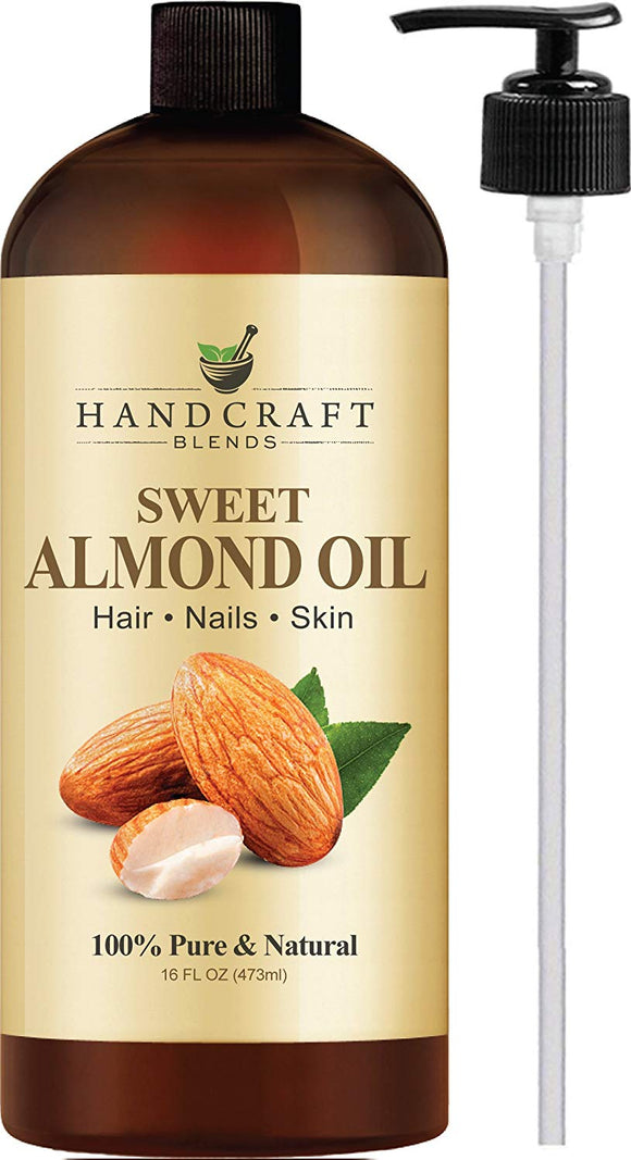 100% Pure Sweet Almond Oil – All Natural Premium Therapeutic Grade – Huge 16 OZ