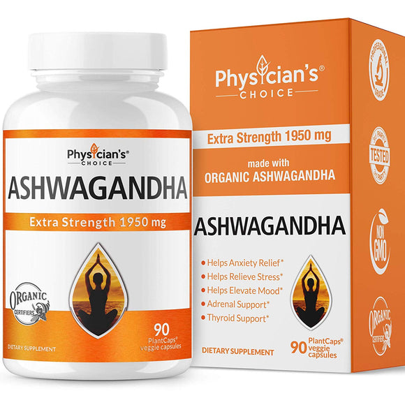 Ashwagandha 1950mg Organic Ashwagandha Root Powder Thyroid Support, Cortisol & Adrenal Support, Anti Anxiety.