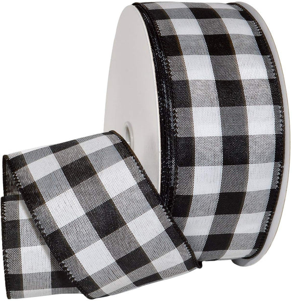 Morex Ribbon Cambridge Wired Gingham Plaid Ribbon, Black