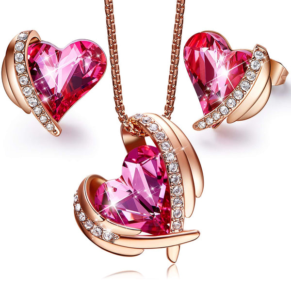 "CDE ""Pink Angel 18K Rose Gold Jewelry Set Women Heart Pendant Necklaces and Stud Earrings Sets Crystals from Swarovski"