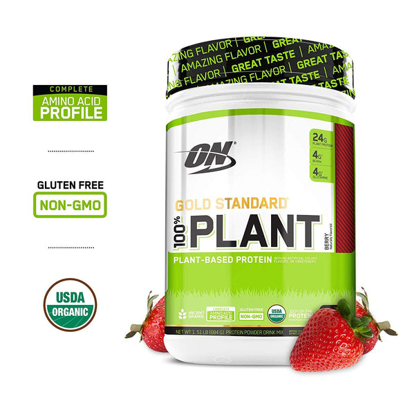 Optimum Nutrition Gold Standard 100% Organic Plant Based Vegan Protein Powder, Complete Amino Acid Profile, Berry, 19 Servings