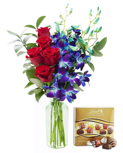 KaBloom Sapphire Red Bouquet of Fresh Red Roses and Exotic Blue Orchids with Vase and One Box of Lindt Chocolates