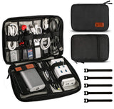 Universal Travel Cable Organizer Bag Electronic Accessories Carry Case Box with 5pcs Cable Ties