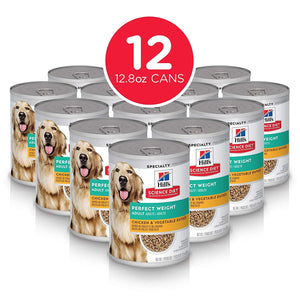 Hill's Science Diet Canned Wet Dog Food, Adult, Perfect Weight for Weight Management, Chicken & Vegetable Recipes, 12.8 oz Cans, Pack of 12