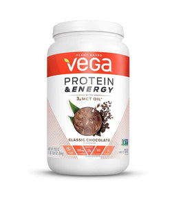 Vega Protein & Energy Classic Chocolate (23 servings, 29.8 oz) - Plant Based Vegan Non Dairy Protein Powder, Gluten Free, Keto, MCT oil, Non GMO