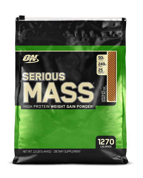 OPTIMUM NUTRITION Serious Mass Weight Gainer Protein Powder, Chocolate Peanut Butter, 12 Pound