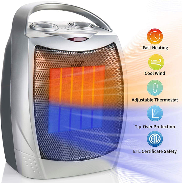 750W/1500W Ceramic Space Heater, Electric Portable Room Heater