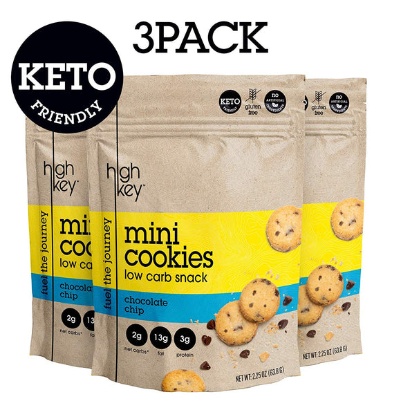 HighKey Snacks Keto Mini Cookies – Chocolate Chip, Pack of 3, 2.25oz Bags