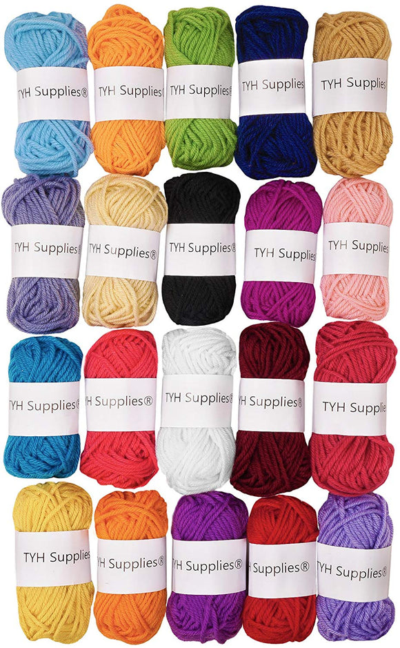 TYH Supplies 20-Pack 22 Yard Acrylic Yarn Assorted Colors Skeins