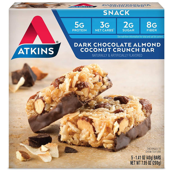 Atkins Snack Bar, Dark Chocolate Almond Coconut Crunch, 5 Count (Pack of 4)