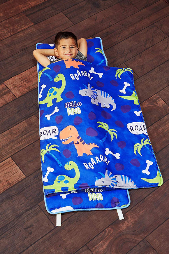 Everyday Kids Toddler Nap Mat with Removable Pillow- Carry Handle with Straps Closure