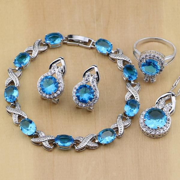 925 STERLING SILVER BLUE TOPAZ BEAUTY BIRTHSTONE 5 PCS SET