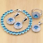 925 STERLING SILVER BLUE TOPAZ STUNNING BIRTHSTONE 5 PCS SET