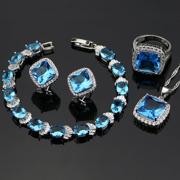 925 STERLING SILVER BLUE TOPAZ CHARMING BIRTHSTONE 5 PCS SET