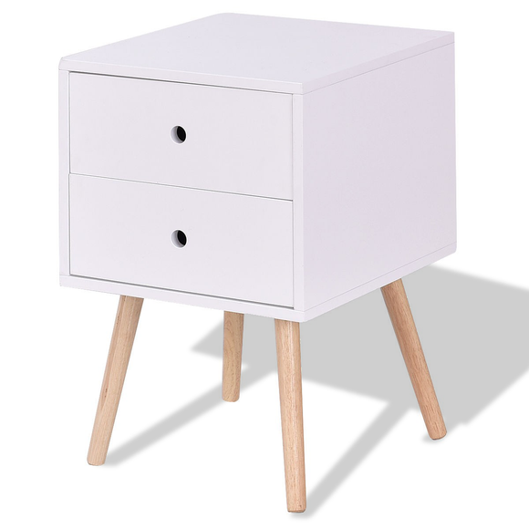 White Side End Table Nightstand w- 2 Drawers