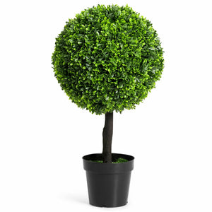 "24"" Artificial Boxwood Topiary Decorative Ball Tree"