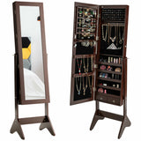LEDs Lockable Jewelry Cabinet with Full-Length Mirror