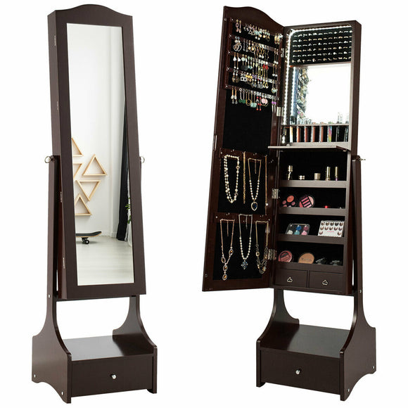 LED Strip Jewelry Armoire with Full Length Mirror
