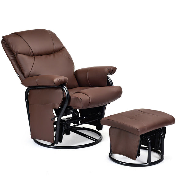 Glider Recliner with Ottoman and Remote Control