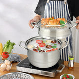 3 Tier Stainless Steel Steamer Set Cookware Pot Saucepot