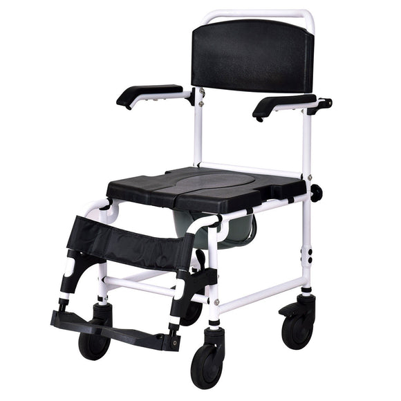 Bathroom Shower Toilet Commode Wheelchair with Drop Arms