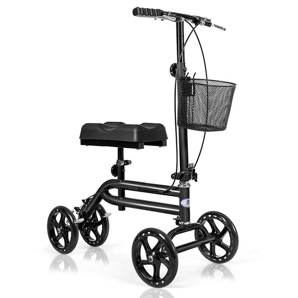 Medical Steerable Knee Walker with Dual Braking System