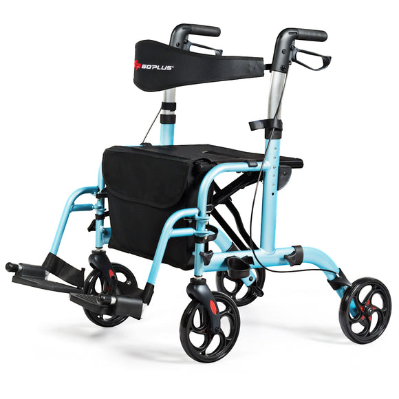 Aluminum Adjustable Folding Handle Medical Walker Rollator