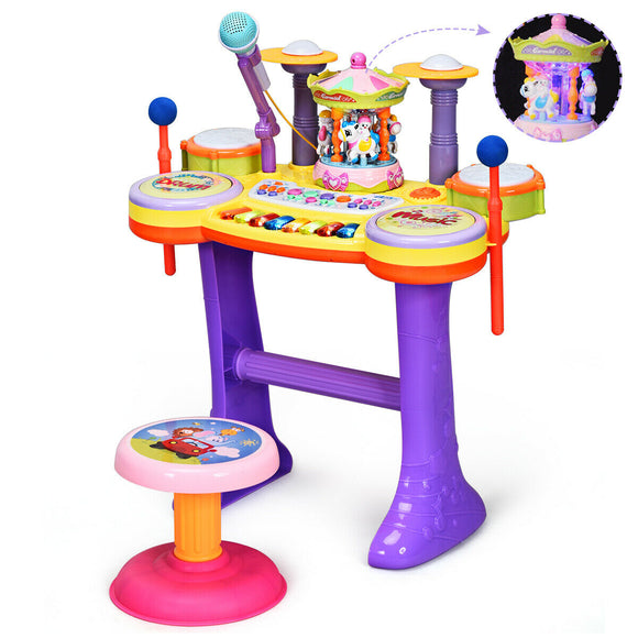 3 In1 Kid Piano Keyboard Drum Set with Carousel Music Box