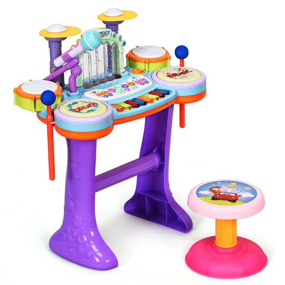 3 in 1 Kids Piano Keyboard Drum Set with Music Fountain