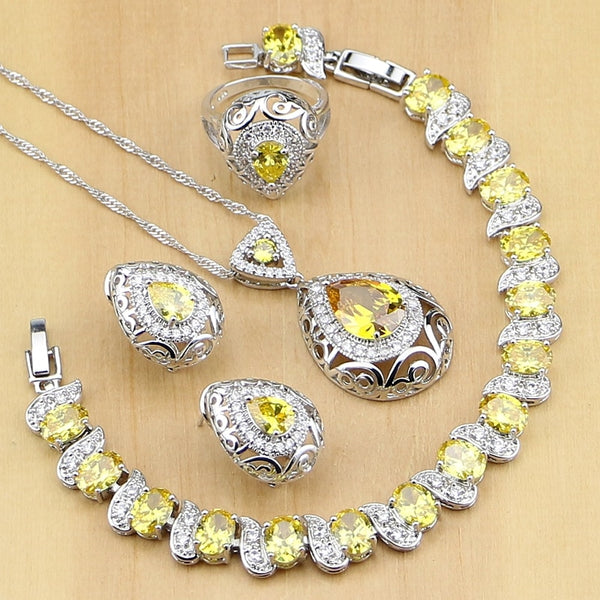 925 STERLING SILVER YELLOW TOPAZ STUNNING BIRTHSTONE 5 PCS SET